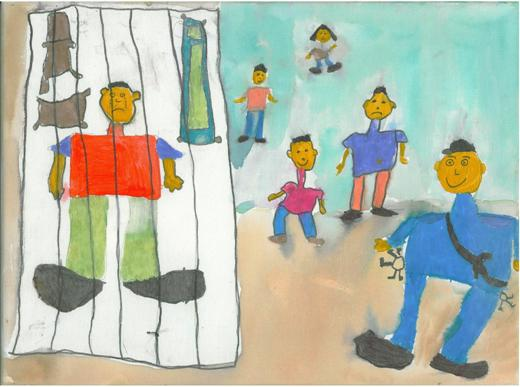 Dessin d'enfant d'une famille regardant un prisonier derrière les barreaux